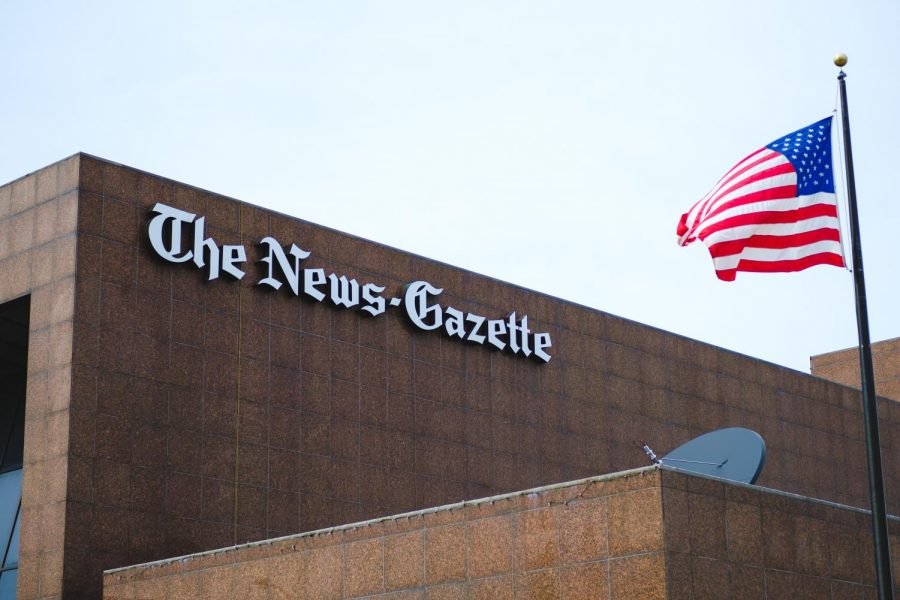 The+News-Gazette+building+is+pictured+in+downtown+Champaign+on+Friday.+On+Sunday%2C+the+News-Gazette+announced+it+will+no+longer+be+publishing+a+Monday+paper.