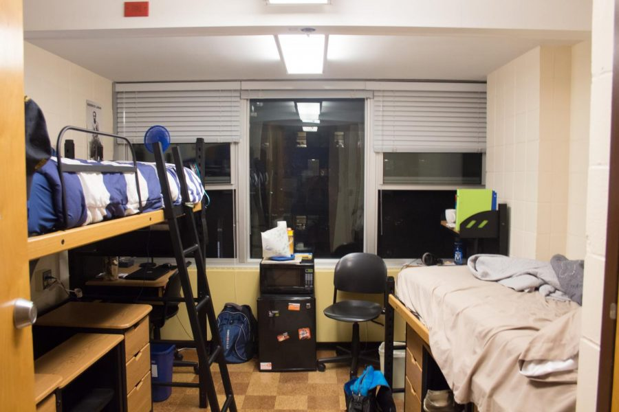 A dorm room is decorated in Carr Hall on Oct. 4, 2017. When you first move out on your own for college, it is important to set good cleaning habits to keep your new space tidy.