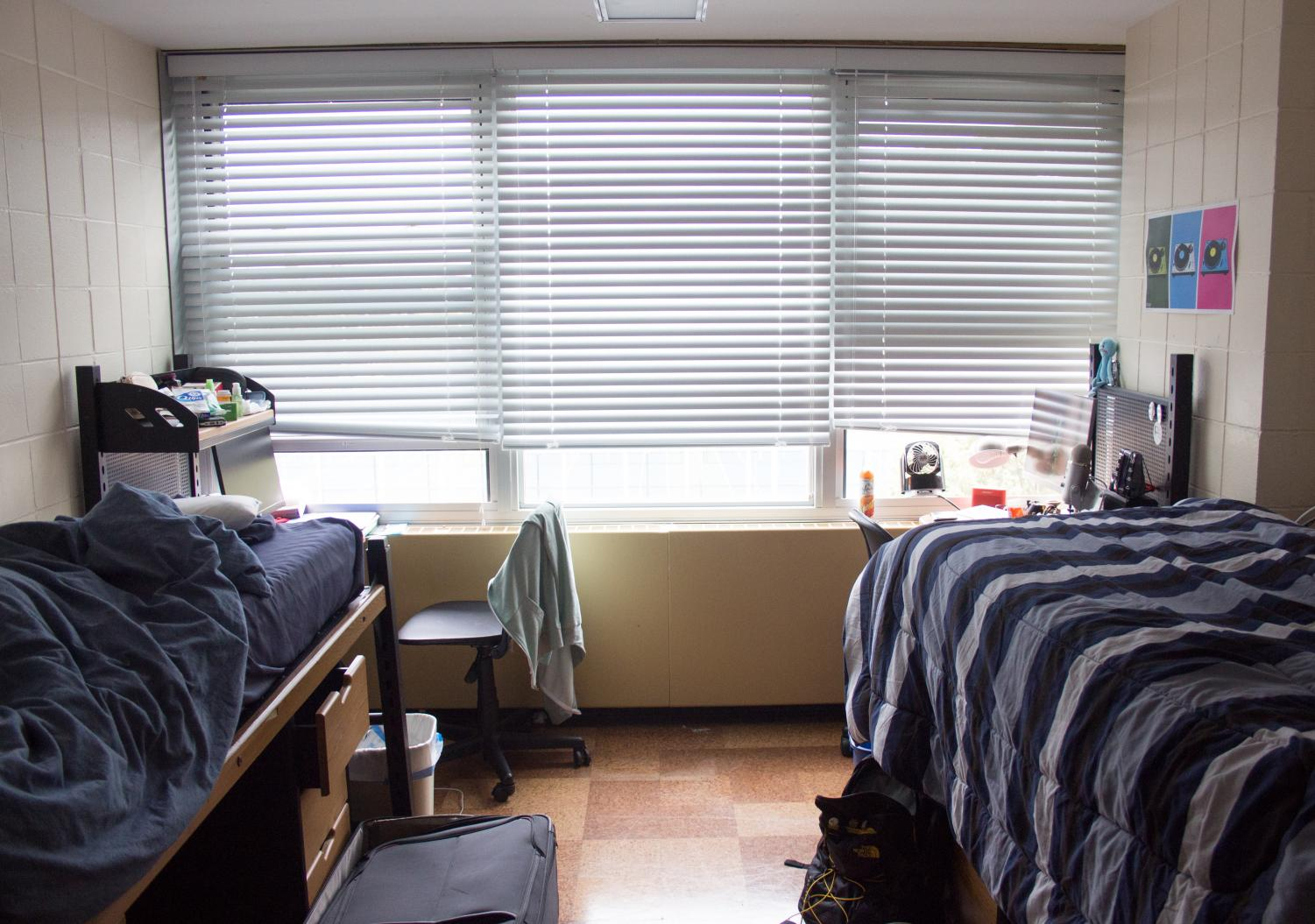 A dorm room located in Carr Hall of Pennsylvania Avenue Residence Halls. Sharing a space with someone else — whether you know them or not — is daunting, but being a considerate person is the first step in having a good experience with a new roommate.