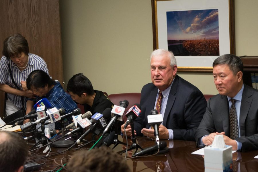 Senior Assistant State's Attorney Dan Jackson and Yingying Zhang's family's attorney Zhidong Wang, surrounded by Yingying Zhang's family, make a statement revealing  how Brendt Christensen disposed of Zhang's body in June of 2017. No searches have been conducted yet as it will prove to be a difficult task, but future investigations of Christensen's claims will be undertaken by the federal, state and local governments.