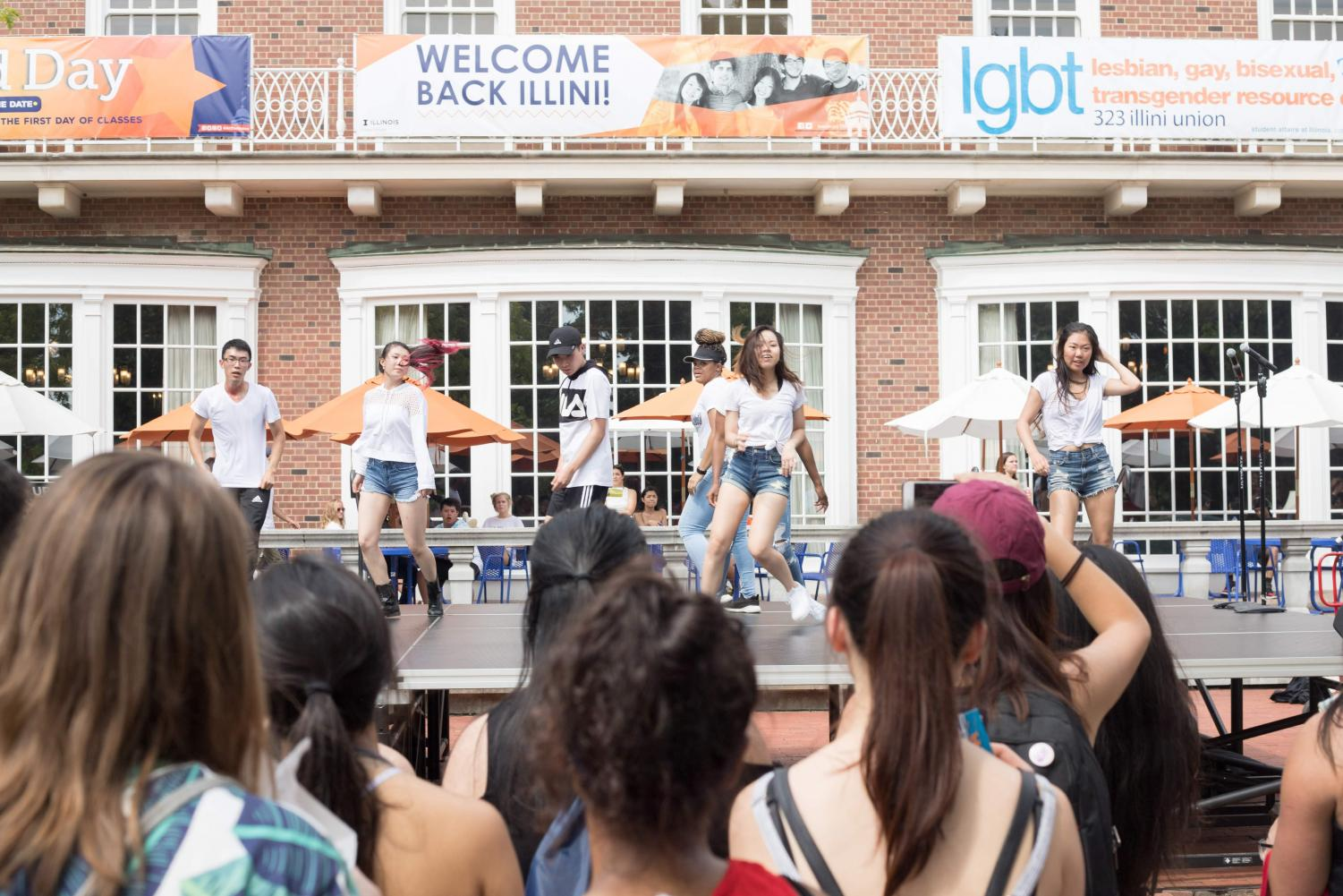 A RSO performs on a stage in front of the Illini Union during Quad Day on Aug. 26. Welcome week is full of events and the excitement of a new semester with lots to bring, but it is important to remember to consider setting productive habits early on in the semester.