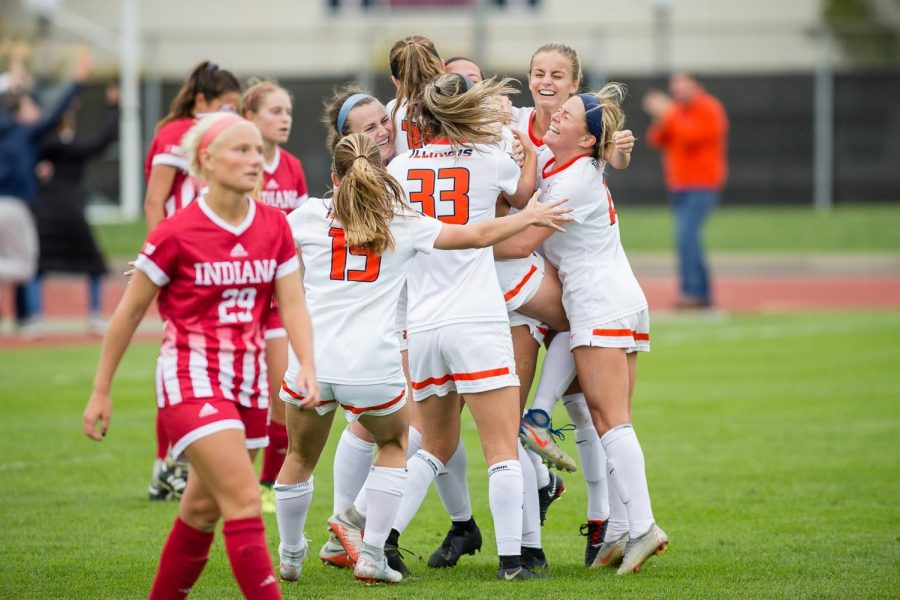 The Illini celebrate after winning the game against Indiana at the Illinois Soccer Stadium on Oct. 14, 2018. The Illini won 1-0 in double overtime.
