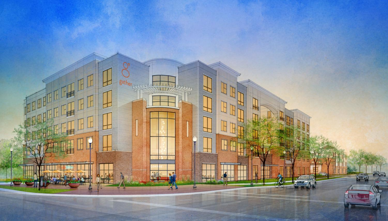 The new Gather residential area was designed by real estate company Rael Development Corporation. The development will consist of two main buildings, a five-story apartment complex north of Clark Street and a three-story collection of hotel rooms and townhomes just south of it.