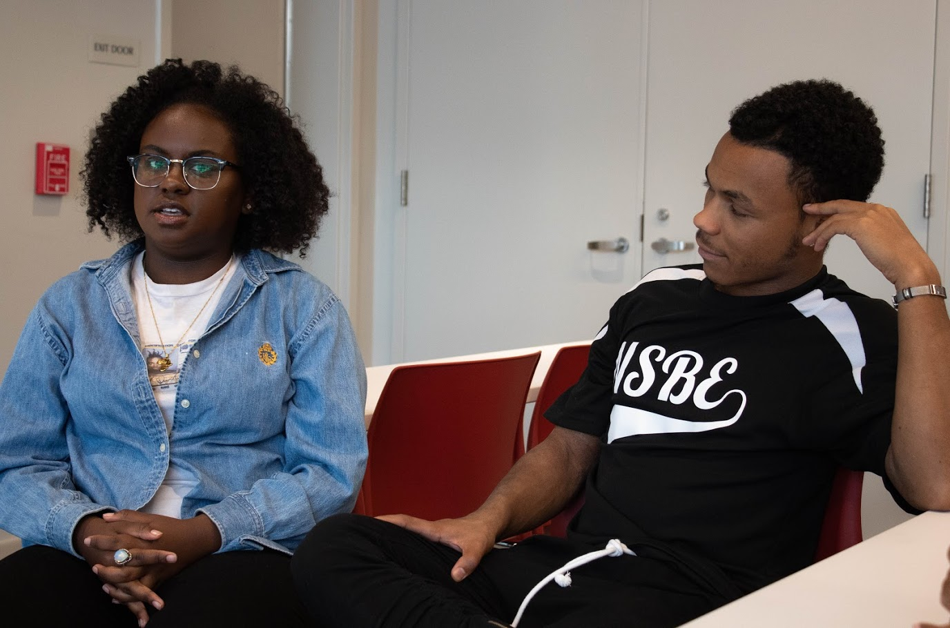 Kayla Stewart, sophomore in LAS, and Haki Shabazz Materre, senior in AHS, being interviewed at the Bruce D. Nesbitt African American Cultural Center on Friday. A report for the 2018-19 academic year showed 475 African American students enrolled in the University last fall.