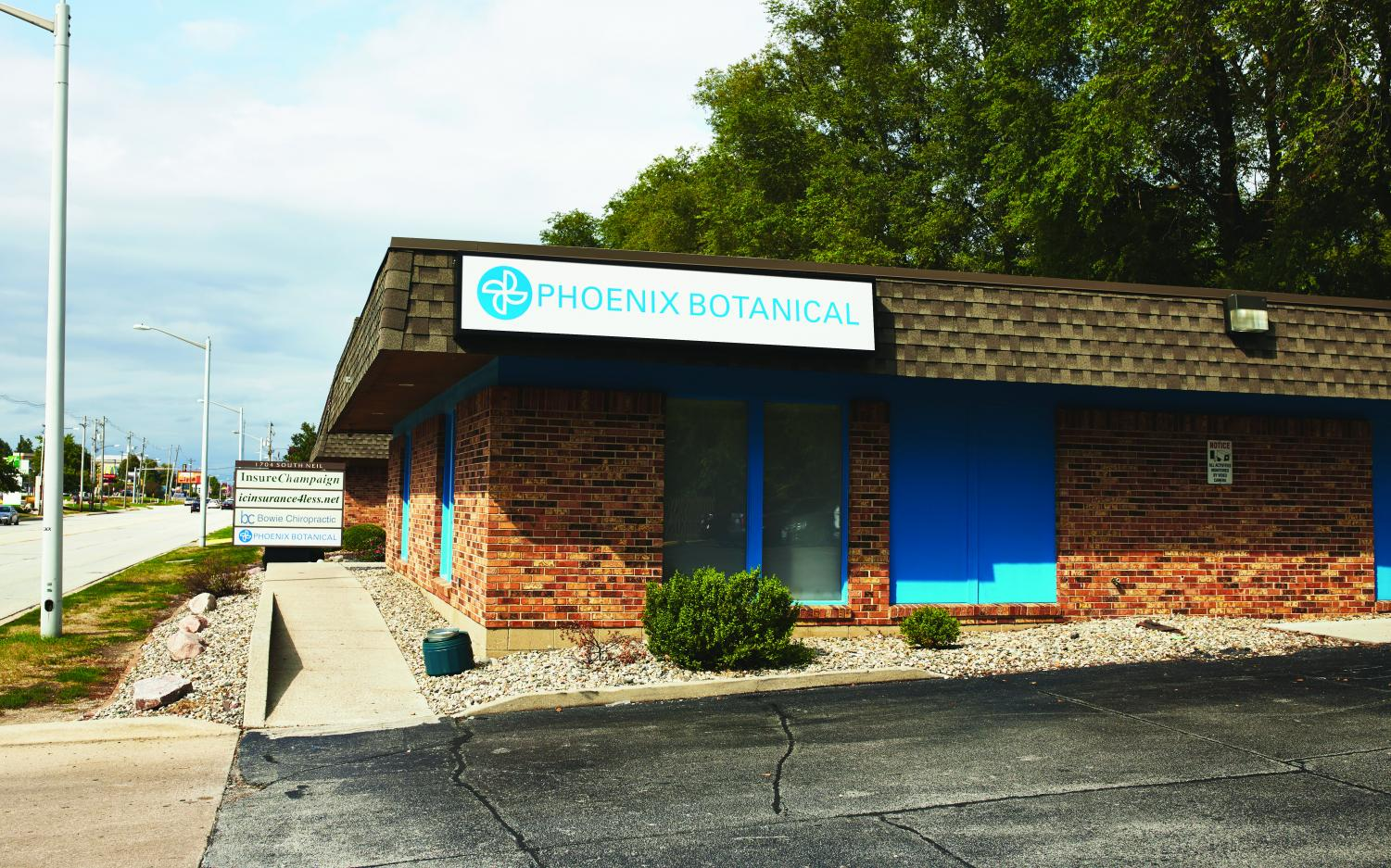 The front entrance to Phoenix Botanical, which stands at 1704 S. Neil St., a marijuana dispensary located in Champaign. House Bill 1438, passed in Illinois on May 31, states anyone 21 or older can possess, purchase and use limited amounts of cannabis starting Jan. 1, 2020.