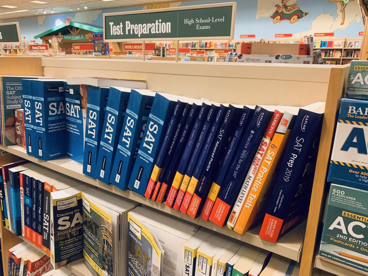 Books intended for SAT preparation sit on a shelf at Barnes and Noble on May 22. The College Board recently announced the Environmental Context Dashboard, a tool intended to measure social and economic adversity on college applicants' backgrounds.