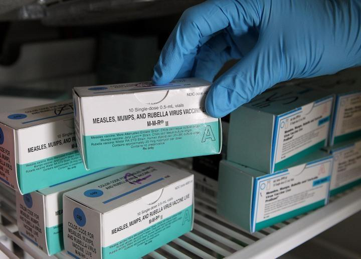 Boxes of the measles, mumps and rubella vaccine are displayed at the Gason County Department of Health and Human Service. McKinley Health Center hopes to increase measures on measles prevention.