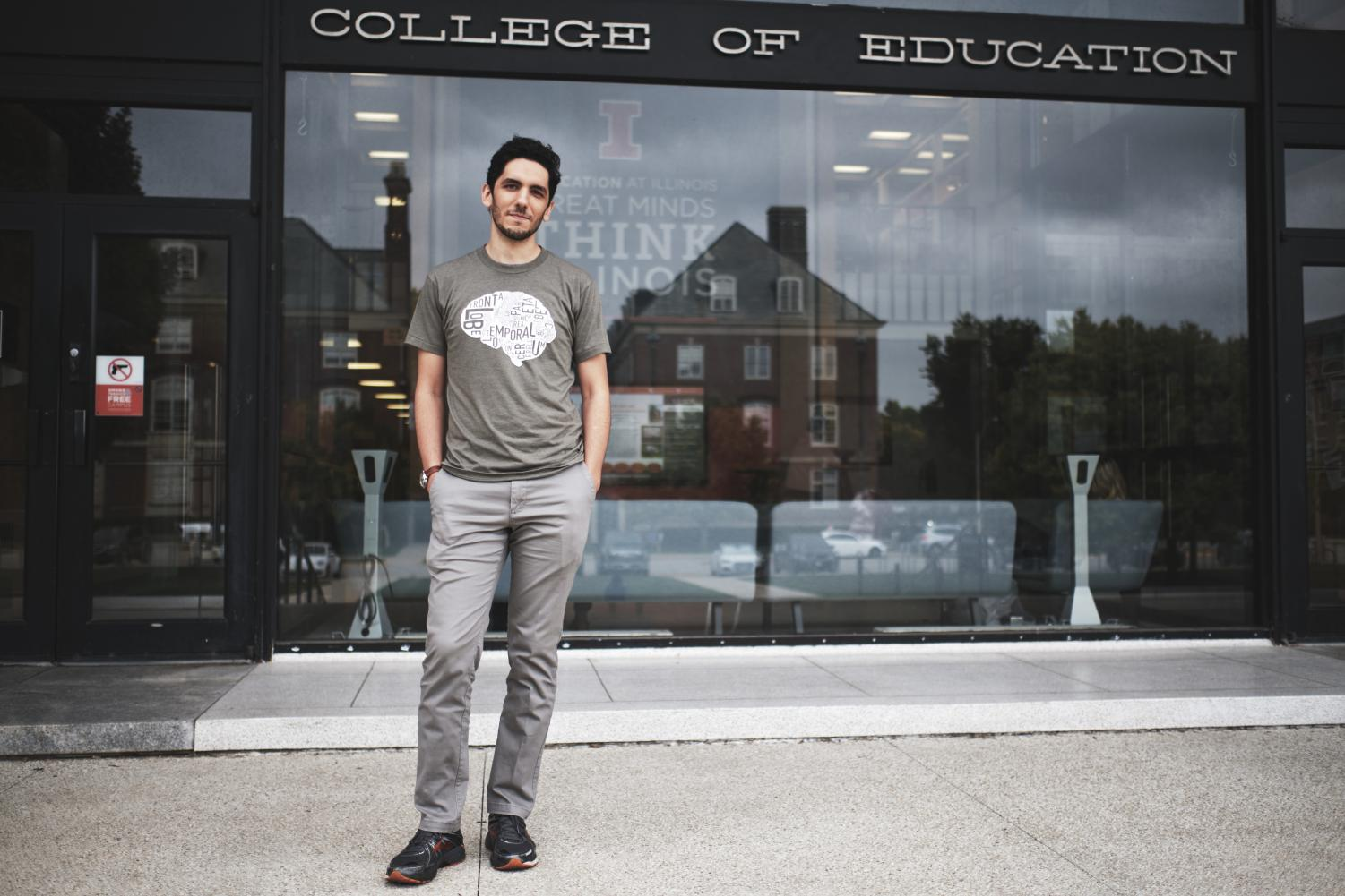 Amir Maghsoodi, a second-year doctoral candidate in the counseling psychology program whose office is located in the College of Education, stands in front of the College of Education Building. The program for doctoral students was recently ranked among the top of the nation.