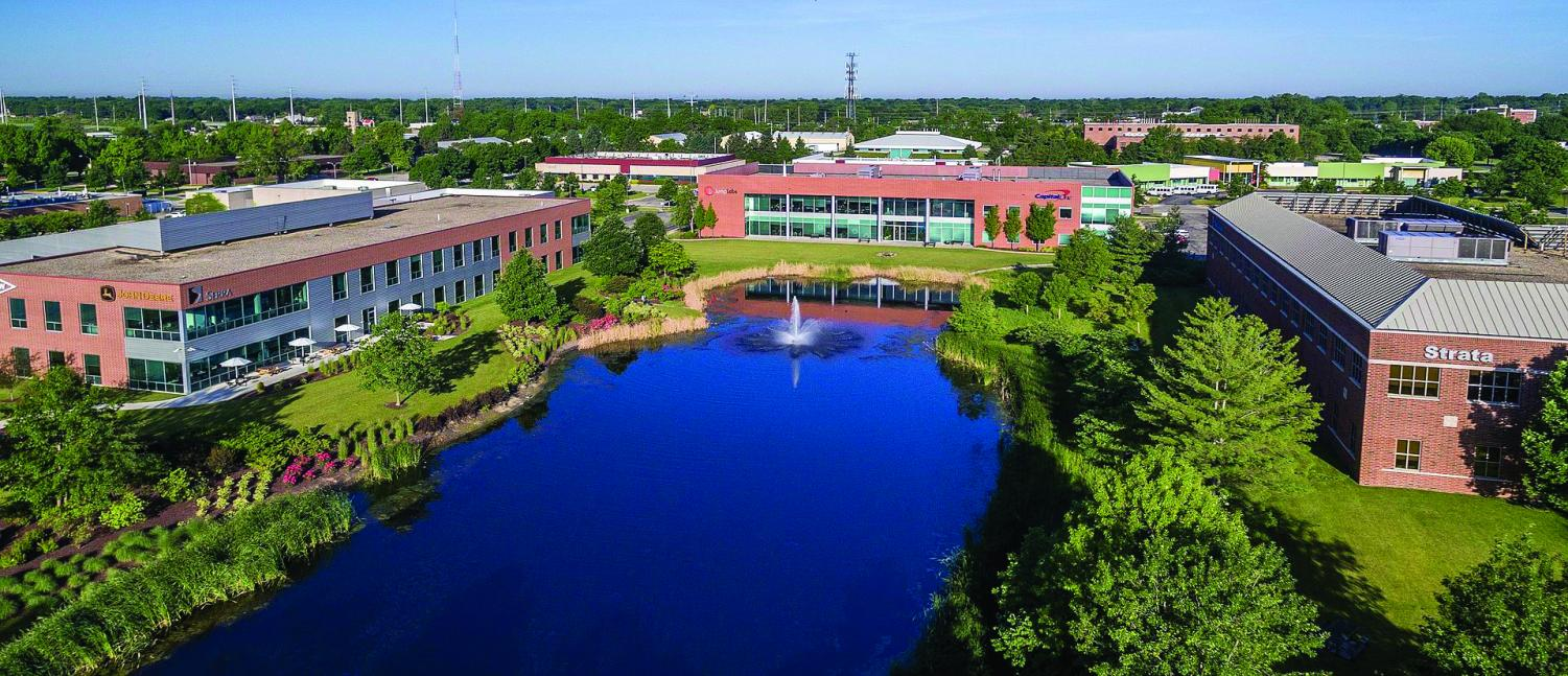 An aerial view of the University of Illinois Research Park is shown above. Research Park recently partnered with Cargill Inc. to bring a new innovation lab to the area providing a 12-week internship program available to both graduate and undergraduate students.