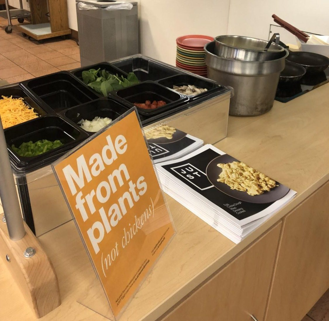 LAR dining hall offers a vegan egg substitute from JUST Eggs, which comes in both liquid and patty forms. The substitute is made out of mung beans and will help expand food options for students with special dietary needs.