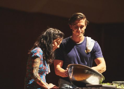 Antoni Porowski and Michelle Zauner make a salad during a cooking demonstration. Porowski brought his expertise to the Krannert Center for the Performing Arts on Friday.