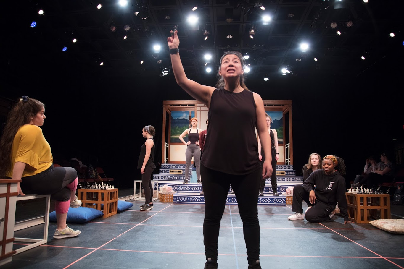 """An actress rehearses for """"Because I am your Queen (A Feminist Fantasia)"""" at the Illinois Theatre on March 13. Columnist Ellen praises artistic individuals for their creative minds."""
