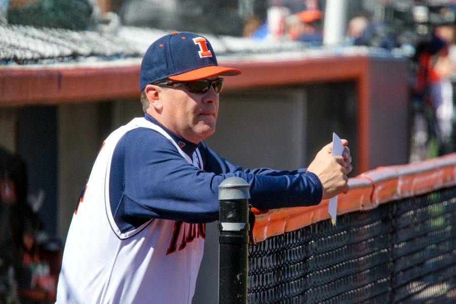 Baseball head coach Dan Hartleb (24) looks on to the field before the baseball game against Purdue at Illinois Field on Saturday, April 11, 2015. Illinois won 10-5.