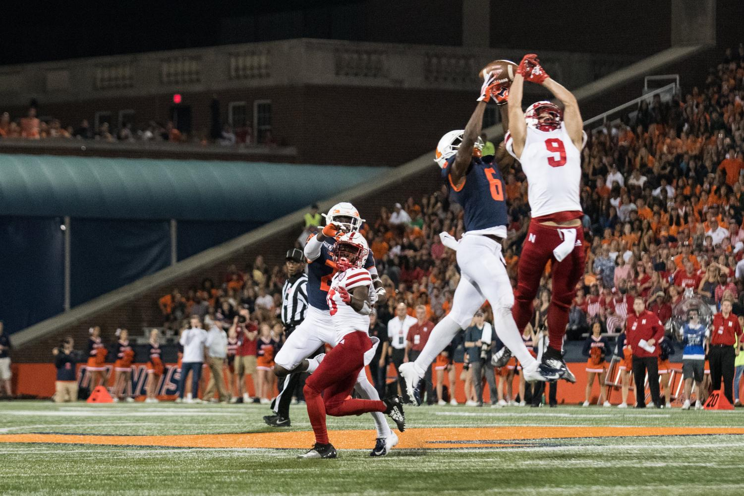 Illinois defense breaks up a pass on Saturday. The Illini led 21-14 at halftime against the Cornhuskers before choking in the fourth quarter.