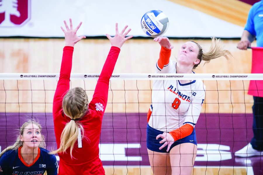 Illinois+outside+hitter+Beth+Prince+%288%29+spikes+the+ball+during+the+match+against+Nebraska+in+the+Final+Four+of+the+NCAA+tournament+at+the+Target+Center+on+Thursday%2C+Dec.+13%2C+2018.+Nebraska+defeated+Illinois+3-2.