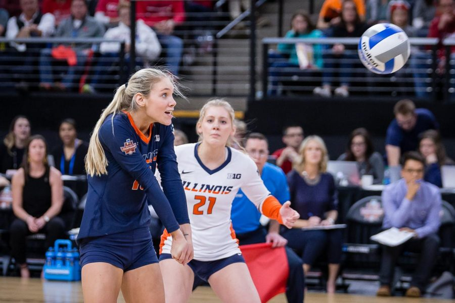 Illinois+defensive+specialist+Megan+O%E2%80%99Brien+%2816%29+gets+ready+to+pass+the+ball+during+the+match+against+Nebraska+in+the+Final+Four+of+the+NCAA+tournament+at+the+Target+Center+on+Thursday%2C+Dec.+13%2C+2018.+Nebraska+defeated+Illinois+3-2.