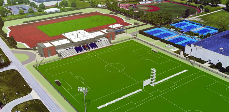 The+Department+of+Intercollegiate+Athletics+broke+ground+on+the+new+Demirjian+Park+on+Oct.+12.+The+new+state-of-the-art+soccer+and+track+facility+will+feature+updated+fan+seating%2C+player+lounges+and+modern+sports+medicine+areas.