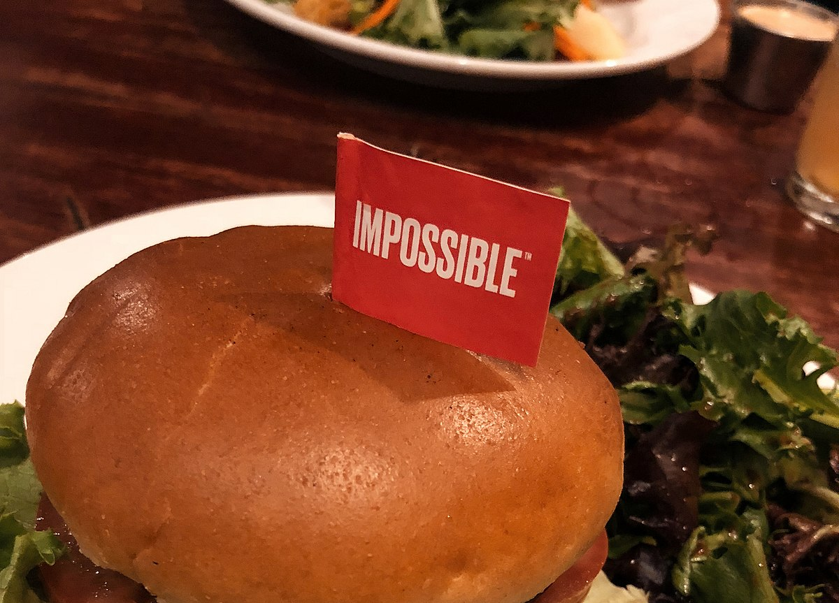 The Impossible Burger, a vegan burger with heme harvested from soybean roots to look, feel, and taste like beef, as prepared by Hell's Kitchen in Downtown Minneapolis, Minnesota.
