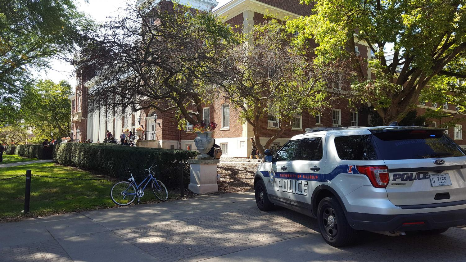 A University police car is parked in front of the English Building on Monday. A gas leak was reported at the building around 11:30 a.m. Monday.