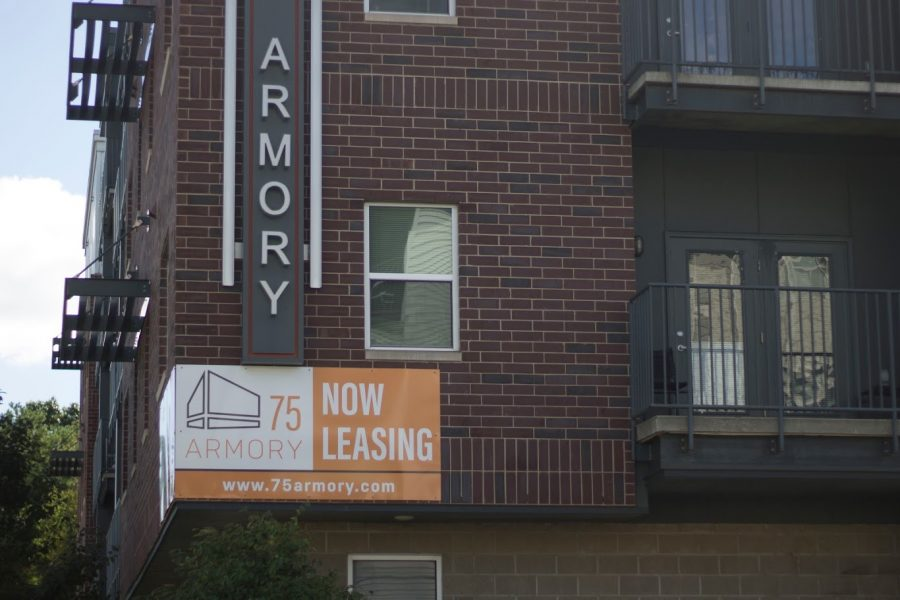 A sign advertises open leases at 75 Armory in Champaign. Choose an apartment that satisfies your needs and desires to minimize the risk of breaking a lease.