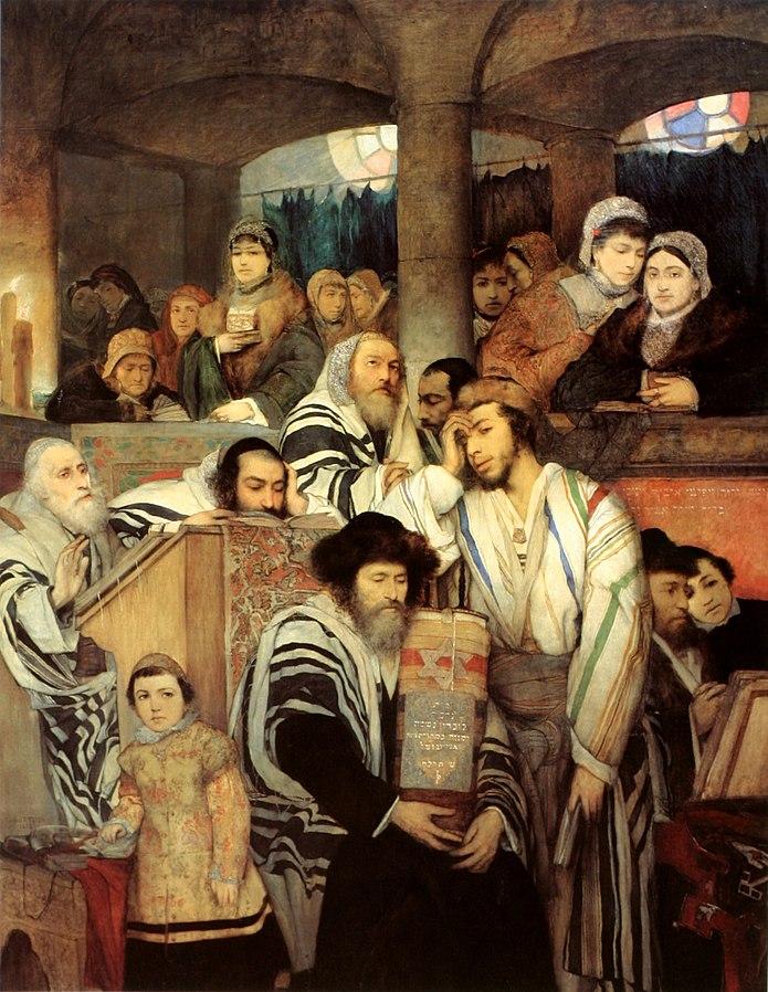 Jews+Praying+in+the+Synagogue+on+Yom+Kippur