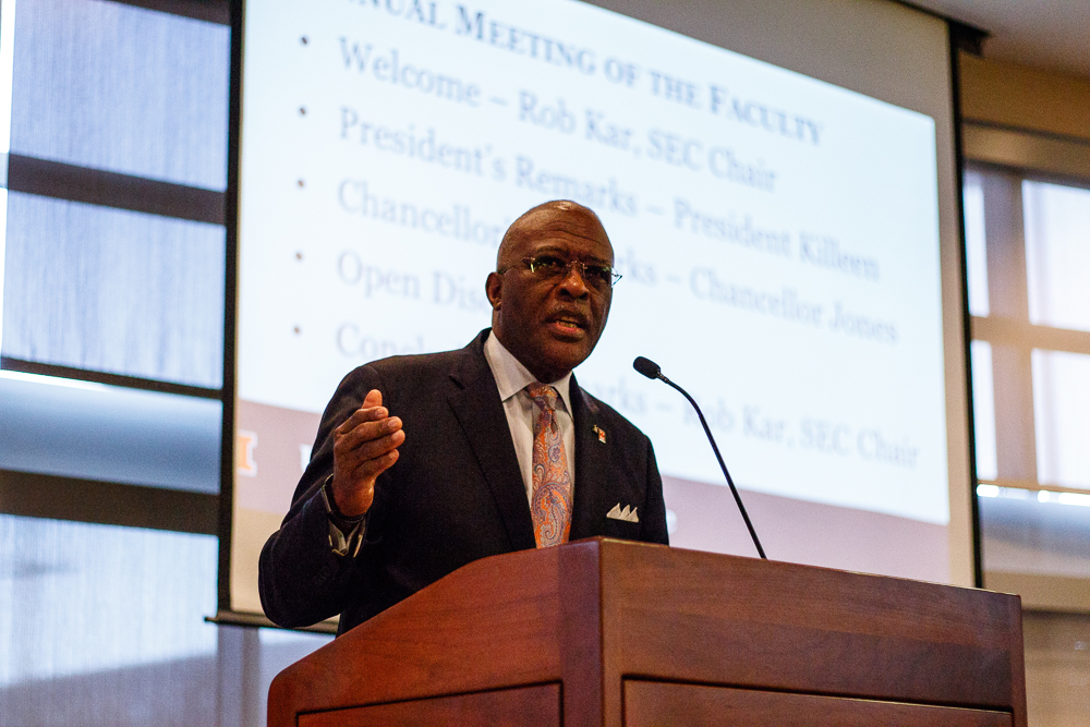 Chancellor Robert Jones responds to students' concerns at the Annual Faculty Meeting on Monday. Jones also addressed the recent incidents of hate found around campus, including the noose found in Allen Residence Hall and drawings of swastikas.