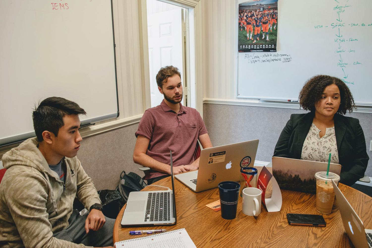 Illinois Student Government members (left to right) Jimmy Song, Conner Josellis and Mariama Mwilambwe sit together for an interview.