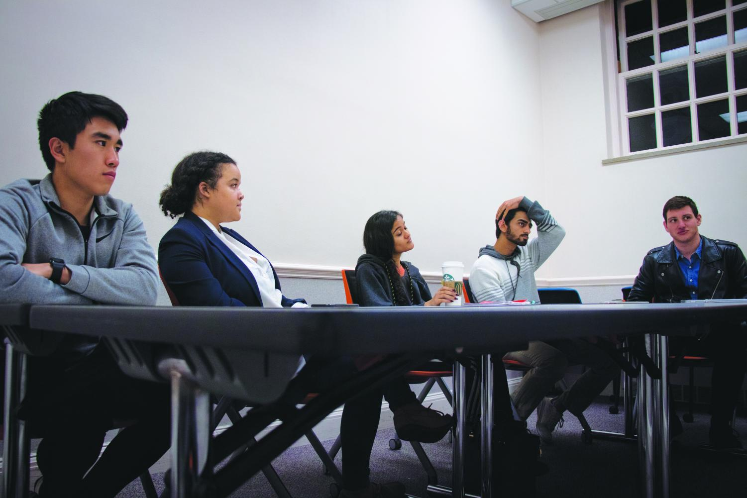 Members of Illinois Student Government speak on their ideas relating to the sexual prevention program that is currently being set in place Thursday evening. The ISG Assault Prevention Program is examining a recent sexual assault report.