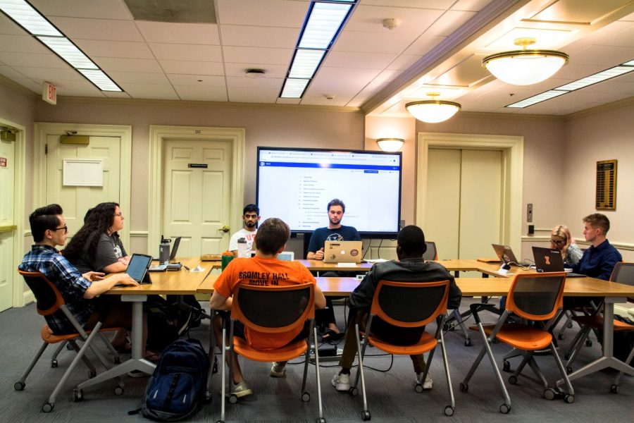 "The Illinois Student Government conducts a meeting on the second floor of the Illini Union on Sept. 8. The ISG voted Wednesday to send Resolution 3.29, ""Condemning Ignorance of Racism and Equating Anti-Zionism with Anti-Semitism,"" to a committee."