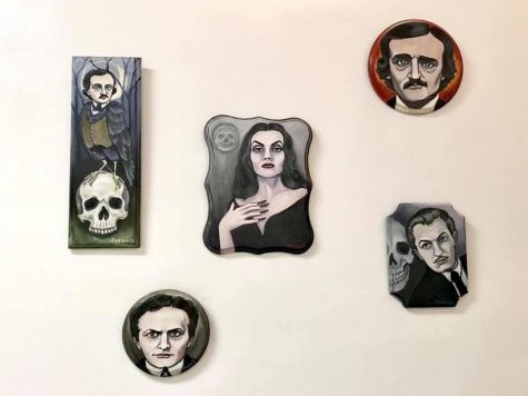 "Pieces by Patience Anders (above) and Melissa Mitchell (right) are on display in Micthell's art exhibition, ""Haunted."" The display, which shows local art, is at the Lincoln Building in Champaign and will be open until Saturday."