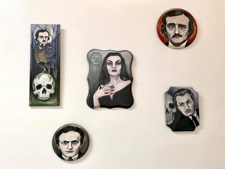 """Pieces by Patience Anders (above) and Melissa Mitchell (right) are on display in Micthell's art exhibition, """"Haunted."""" The display, which shows local art, is at the Lincoln Building in Champaign and will be open until Saturday."""