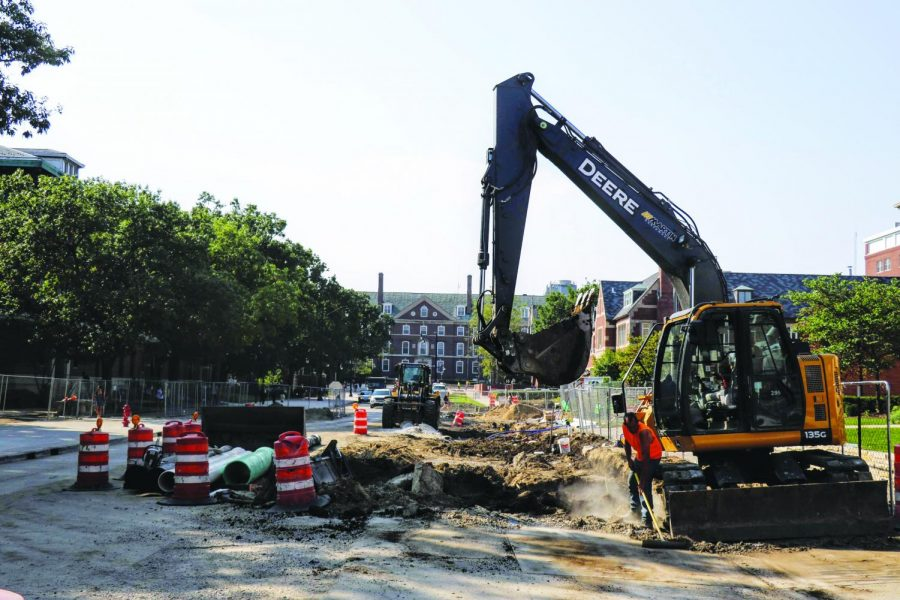 Construction on the corner of Wright and Chalmers Streets on Sept. 20. Columnist Tommy encourages readers and students to think of the University nostalgically amidst the constant changes.