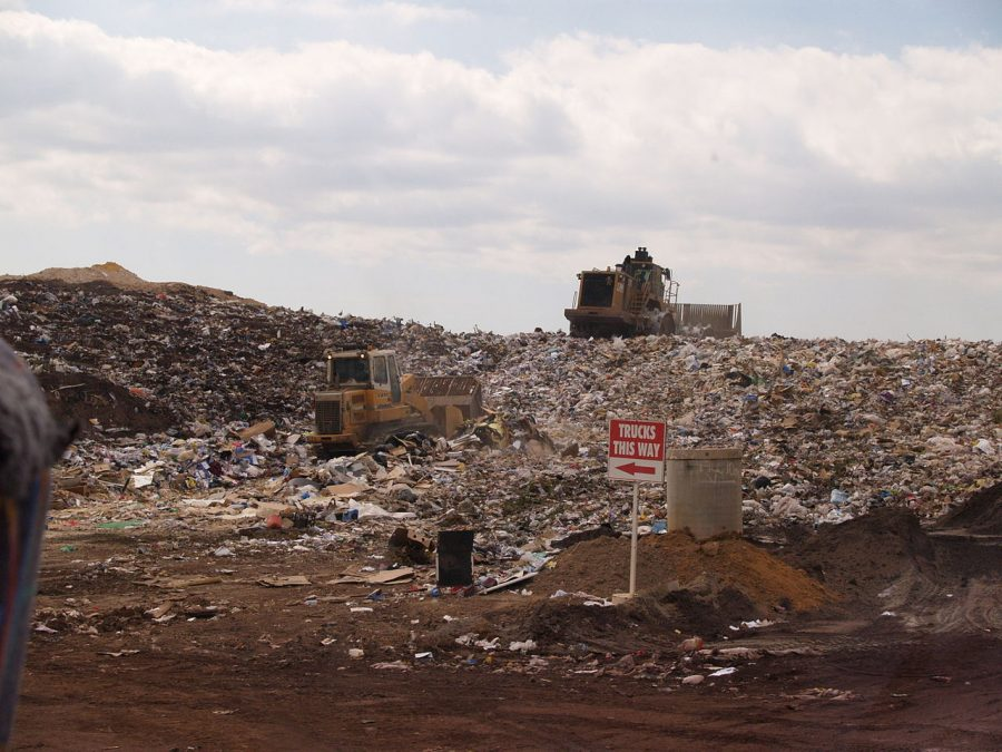 An active tipping area of an operating landfill in Perth, Western Australia is pictured above. Columnist Sandhya urges  America to rethink its ideas around recycling.