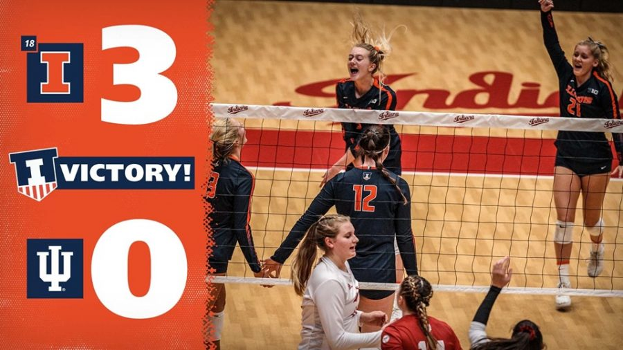 The Illini celebrate on the court at Indiana on Oct. 5. Illinois' road win was their second-straight Big Ten win.