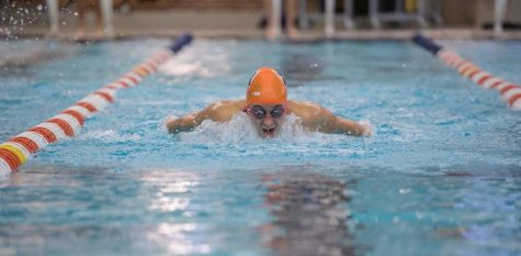 Abigal Cabush performs a butterfly stroke at the ARC pool on Oct. 17. Cabush was named Big Ten swimmer of the week on Oct. 23.