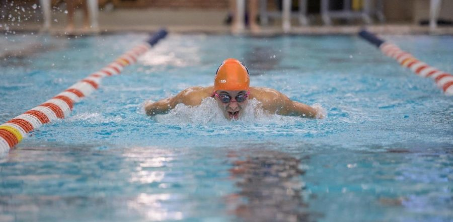 Abigal+Cabush+performs+a+butterfly+stroke+at+the+ARC+pool+on+Oct.+17.+Cabush+was+named+Big+Ten+swimmer+of+the+week+on+Oct.+23.%0A