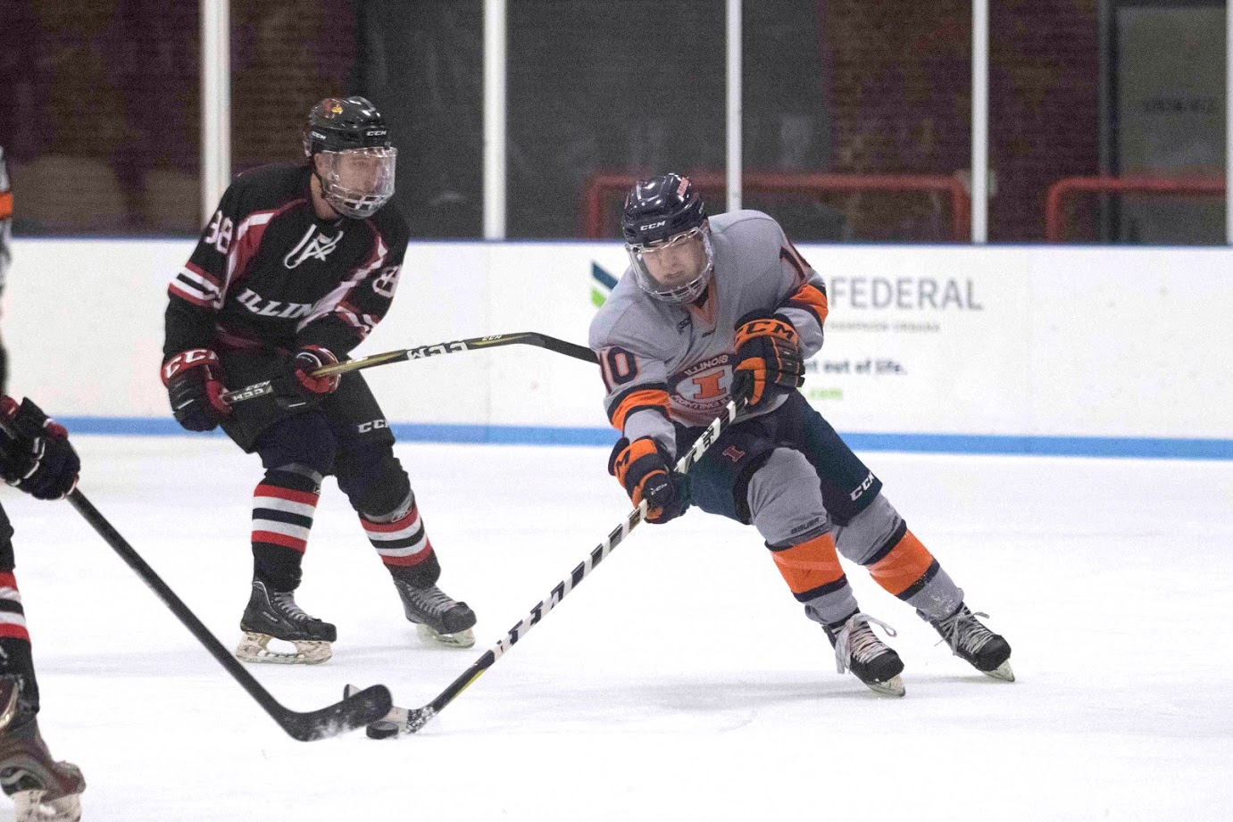 Drew Richter controls the puck during Illinois' game against llinois State. The game took place on Feb. 2, 2018.