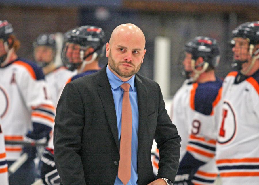 Illinois' Nick Fabbrini walks back to the bench after the Ohio hockey game at the Ice Arena on Oct. 24, 2014. The Illini won 2-1.  Fabbrini said adding hockey as a Division I team would be an historic event and would greatly improve the program.