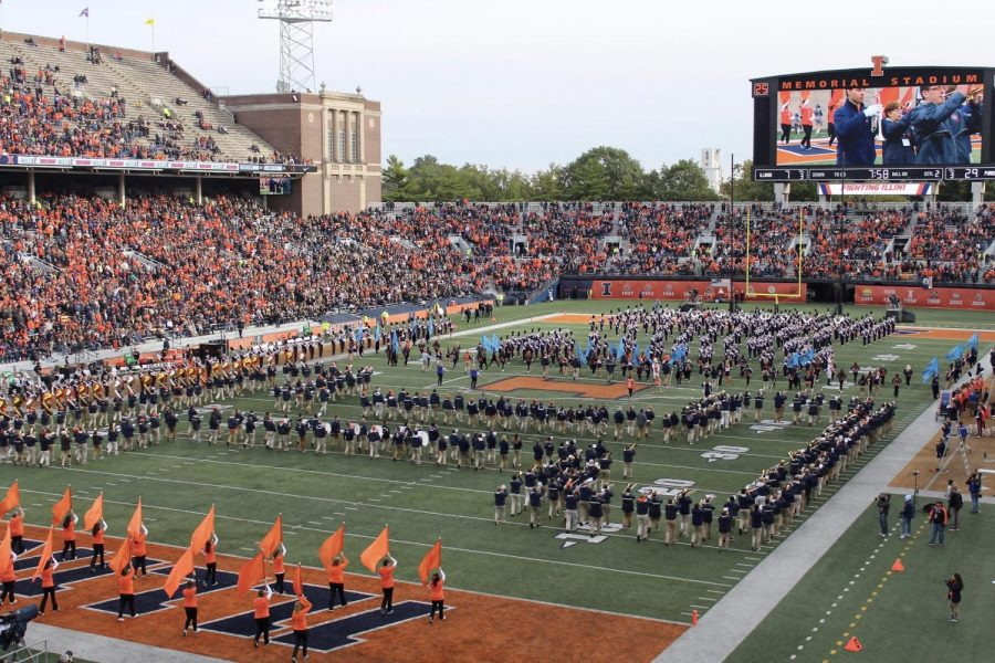 The Marching Illini perform their halftime routine at the Homecoming football game. The game was against Purdue and took place on Oct. 13, 2018.