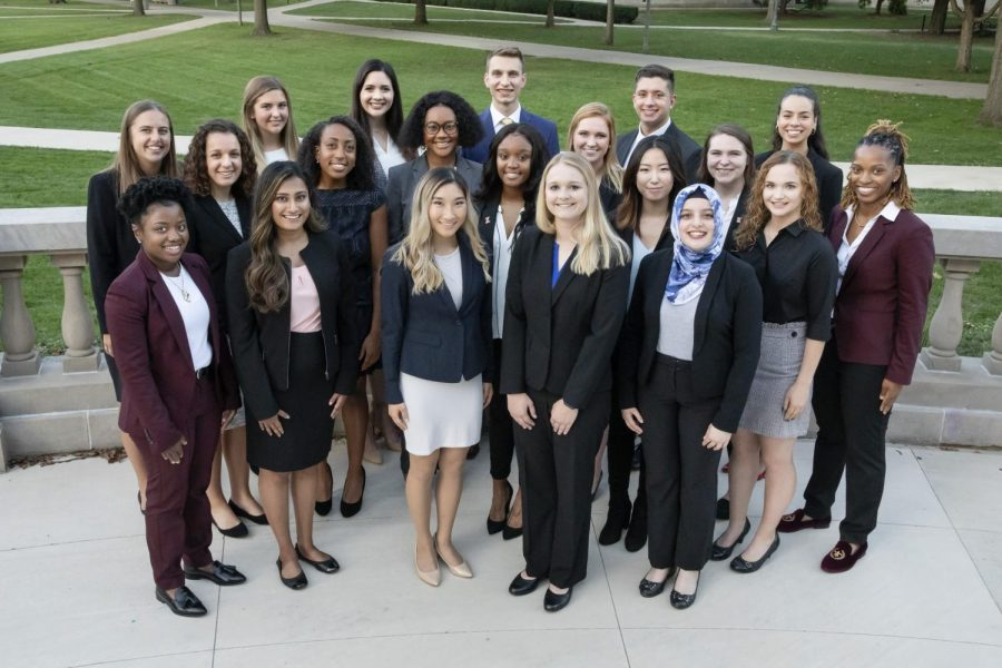 The class of 2019 homecoming court poses for a photo on the balcony of Foellinger Auditorium. The 20 candidates that were selected to serve on the court are viewed as role models for their peers and outstanding representatives of the University of Illinois student body.
