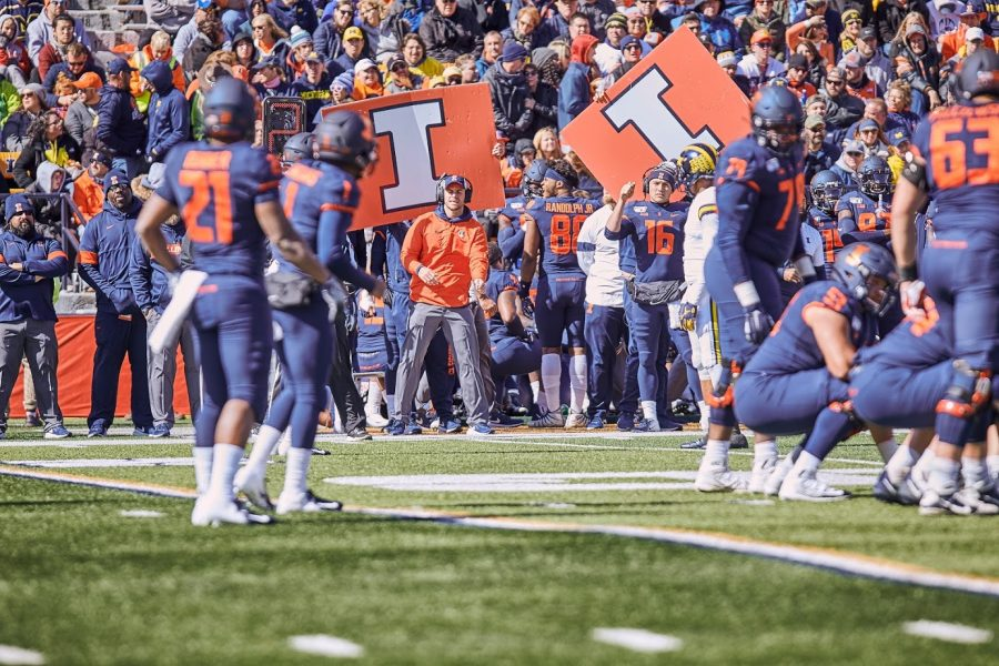 The Illini bench during the Illinois game versus Michigan on Saturday. By going to the Homecoming game, you can ensure you make lifetime memories before leaving the University.
