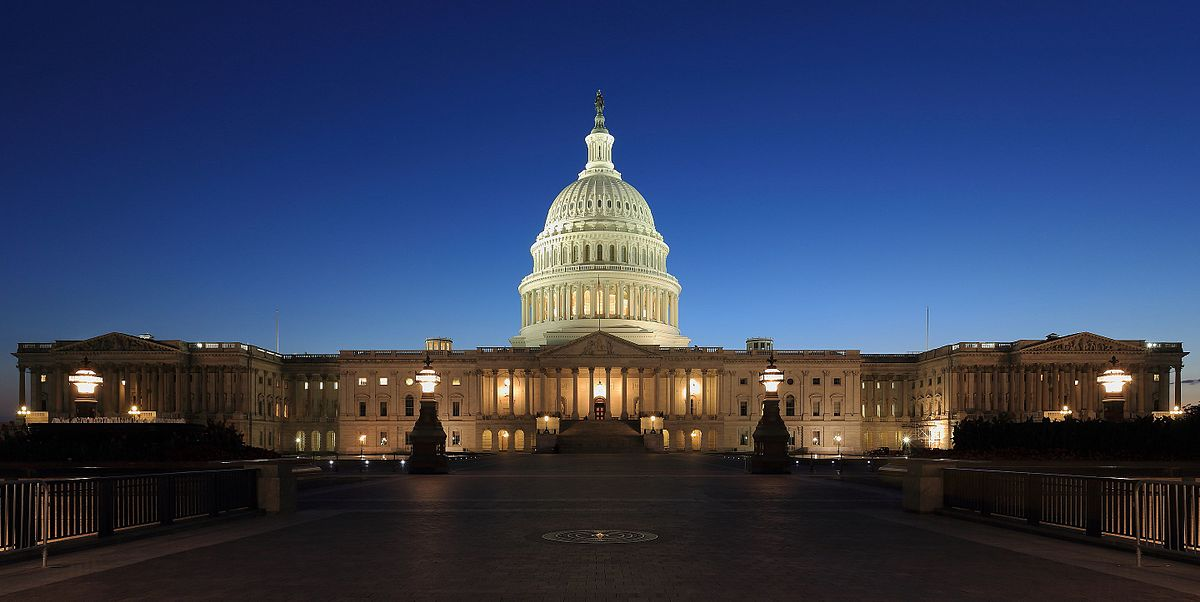 The Captiol Building at night. Some conspiracy theorists believe the current elected government is a front for the
