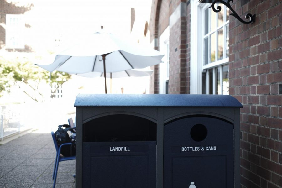 Trash+and+recycling+bins+sit+outside+the+union+on+Sunday.+Champaign+County+will+be+hosting+a+hazardous+waste+pickup+on+Oct.+26.