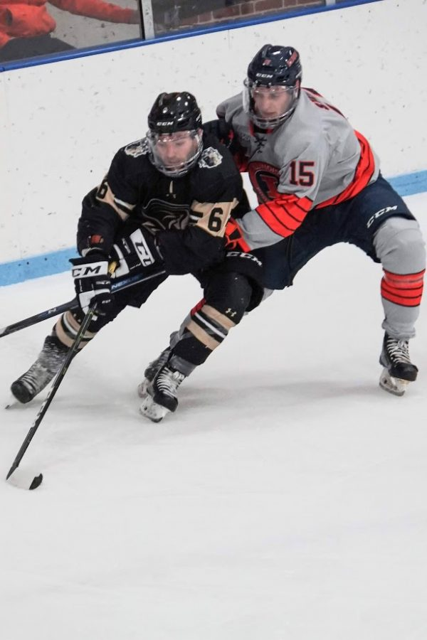 Braden Stewart (15) chases down a Lindenwood player at the Illini Hockey Arena on Oct. 18.