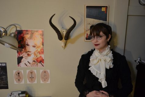 Zoe Goldenfeld poses in her bedroom. The gothic lolita style has risen in popularity, prompting University students like Goldenfeld to celebrate it in graveyard picnics.