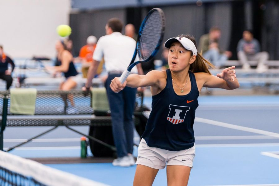 Illinois%27+Emilee+Duong+returns+the+ball+during+the+match+against+Rutgers+at+Atkins+Tennis+Center+on+March+29%2C+2019.++At+the+ITA+Championship+in+Tulsa%2C+Oklahoma+this+weekend%2C+Duong+won+her+section+of+the+Gold+singles+bracket.+