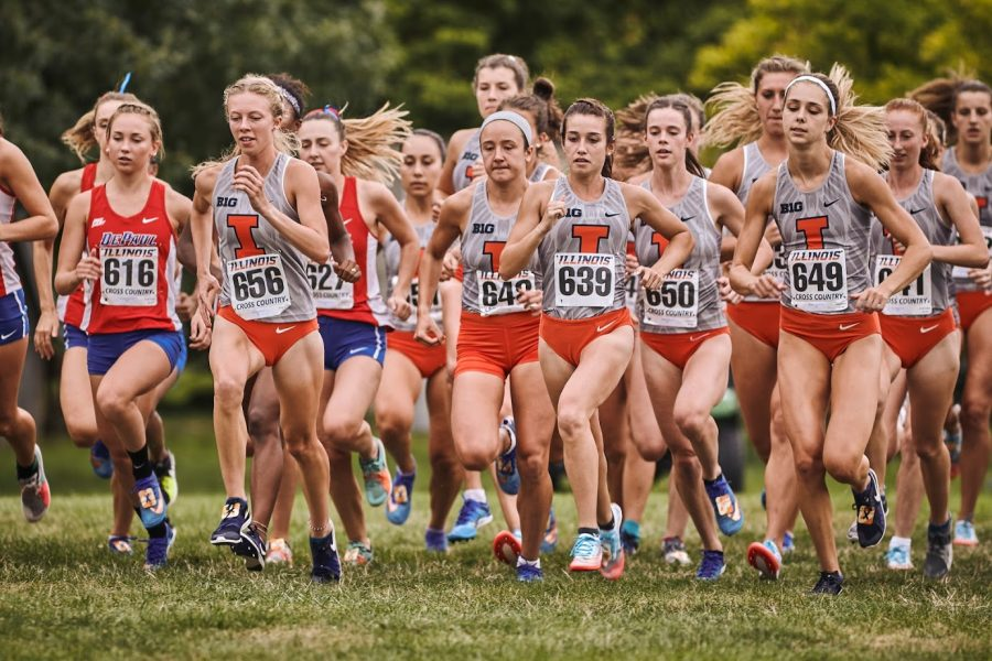 The Illini Women's Cross country team lined up at the starting line at the Illini Open on Aug 30.