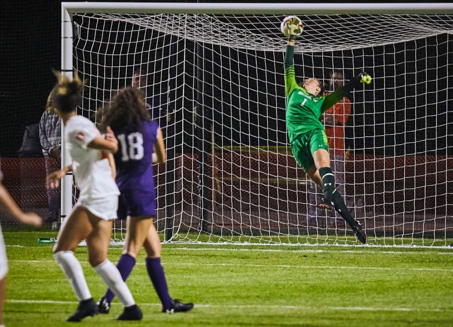 Elizabeth Cablk defends the goal at the Illini Soccer field on Sep. 20 against Northwestern. When she's not on the field, Cablk enjoys baking.
