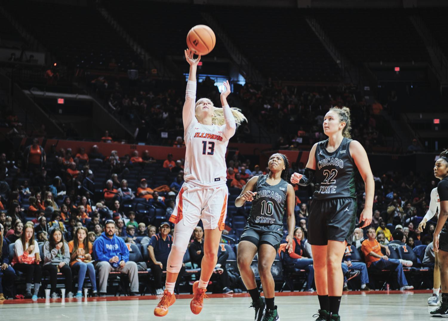 Petra Holešínská drives to the basket for a layup vs Chicago State at the State Farm Center on Tuesday.