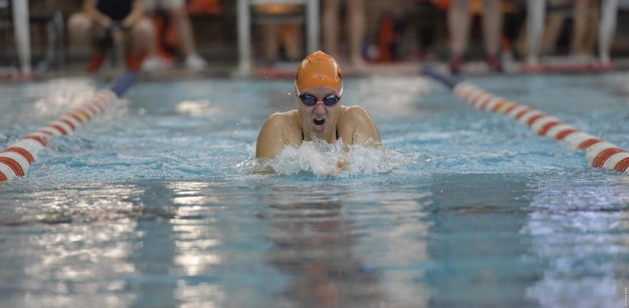 Abigail+Cabush+swims+at+Miami+for+the+double+dual+meet+on+Friday.